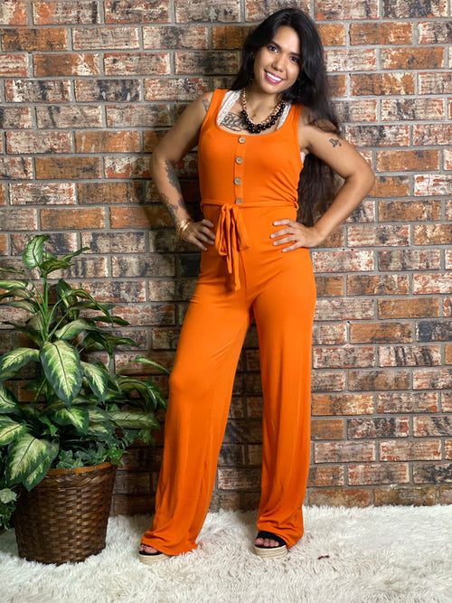 Ribbed Belted Jumpsuit-Orange