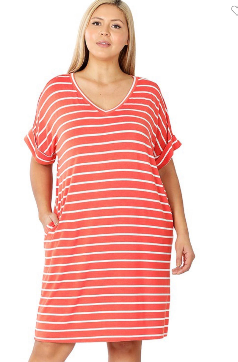 PLUS STRIPE ROLLED SHORT SLEEVE Dress-Cooper