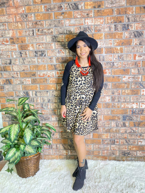 Leopard Dress with Black Sleeve-Regular and Plus