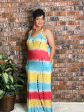 Yellow Tie Dye VNeck Dress