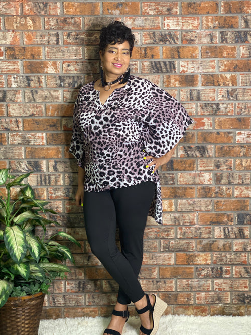 Leopard High Low Blouse