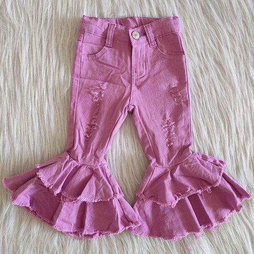 Children Pink Double Ruffle Jean