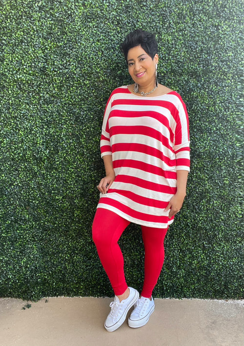 Red White Boxy Stripe 2 Piece Set