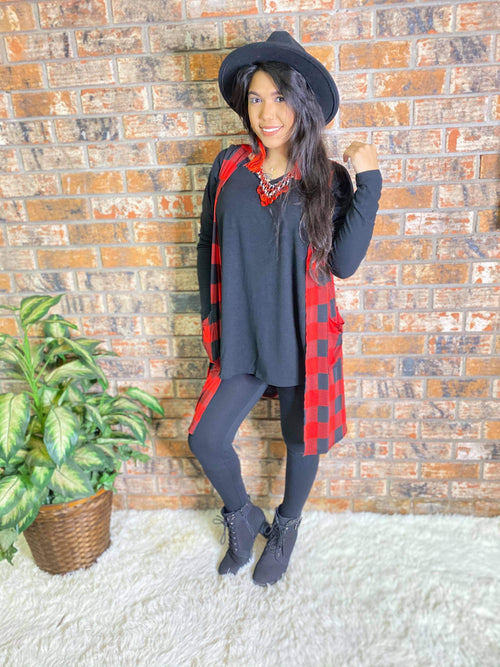 Red Buffalo Plaid Vest-Regular and Plus