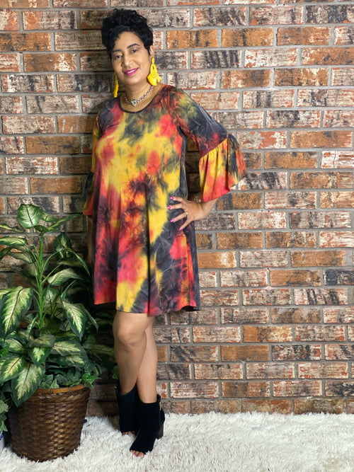 Red Tie Dye Ruffle Sleeve
