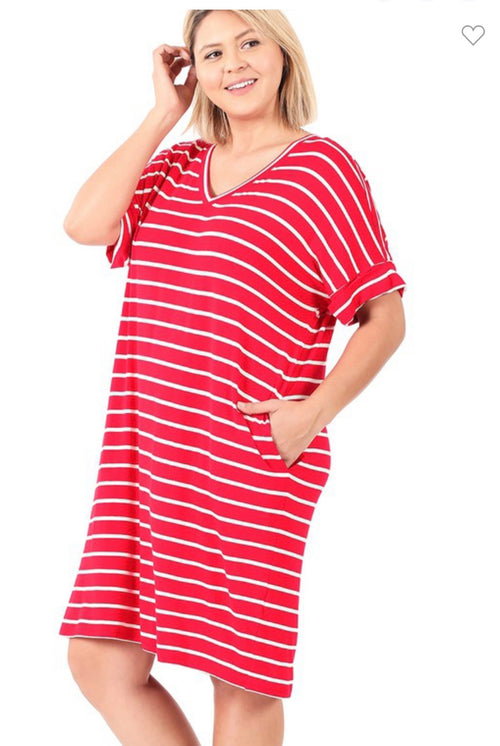 PLUS STRIPE ROLLED SHORT SLEEVE Dress-Red