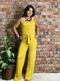 Ribbed Belted Jumpsuit-Mustard Yellow