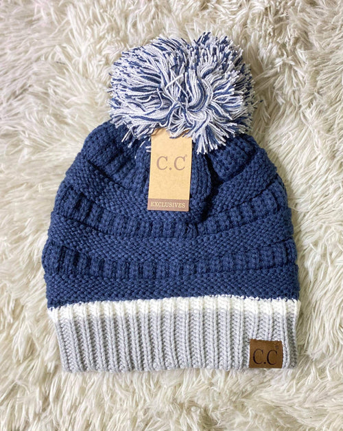 Multi Color CC Beanie with Pom