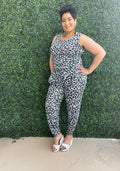 Jogger Jumpsuit with Pockets-Grey Leopard