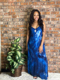 SLEEVELESS MAXI DRESS-Navy Tie Dye
