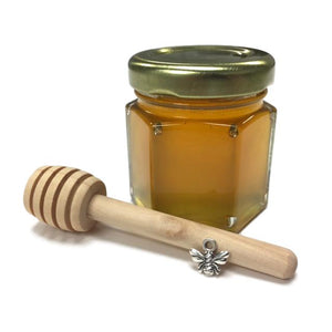 "2 oz Hexagon Honey Favor with 3"" Honey Dipper and Metal Bee Charm - Set of 10, 20 or 50"