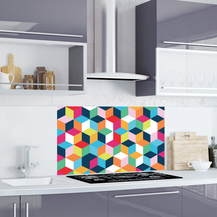 Kitchen splashback Wall Decal - Multiple Sizes - Eco friendly - Geometric Multicoloured Cube