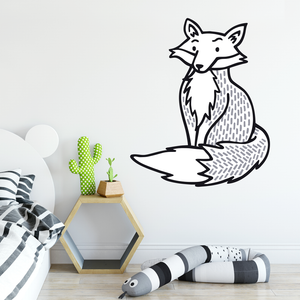 black and white fox wall sticker