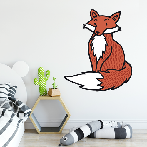 colour fox wall sticker