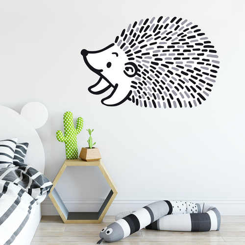 black and white hedgehog wall sticker