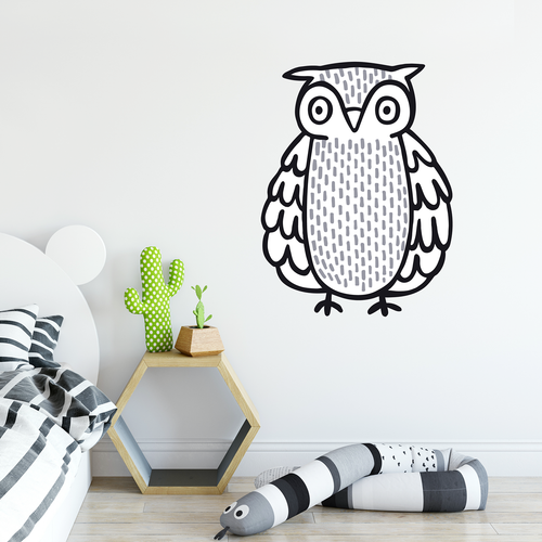 black and white owl wall sticker