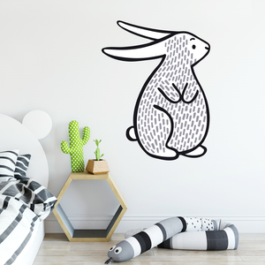 black and white bunny wall sticker