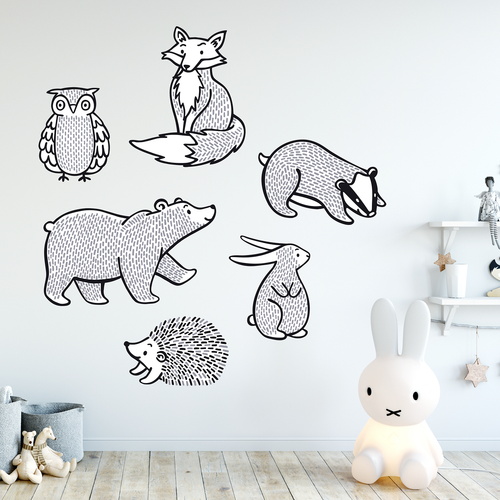 pack of black and white animal wall stickers