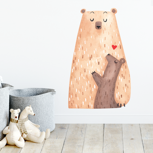 Bear and cub woodland wall decal