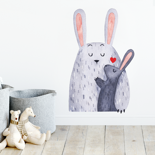 Bunny rabbit and baby woodland wall decal