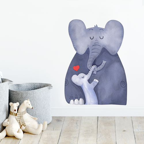 Elephant and baby safari wall decal
