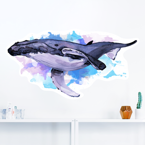 Humpback Whale Watercolour Wall Decal - Multiple Sizes - Eco friendly pastel wall sticker