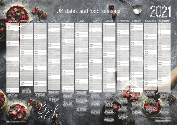 2021 food wall planner calendar dates uk events days styling photography