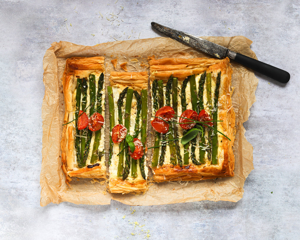 asparagus tart recipe puff pastry food styling photography backdrop background tips how to style