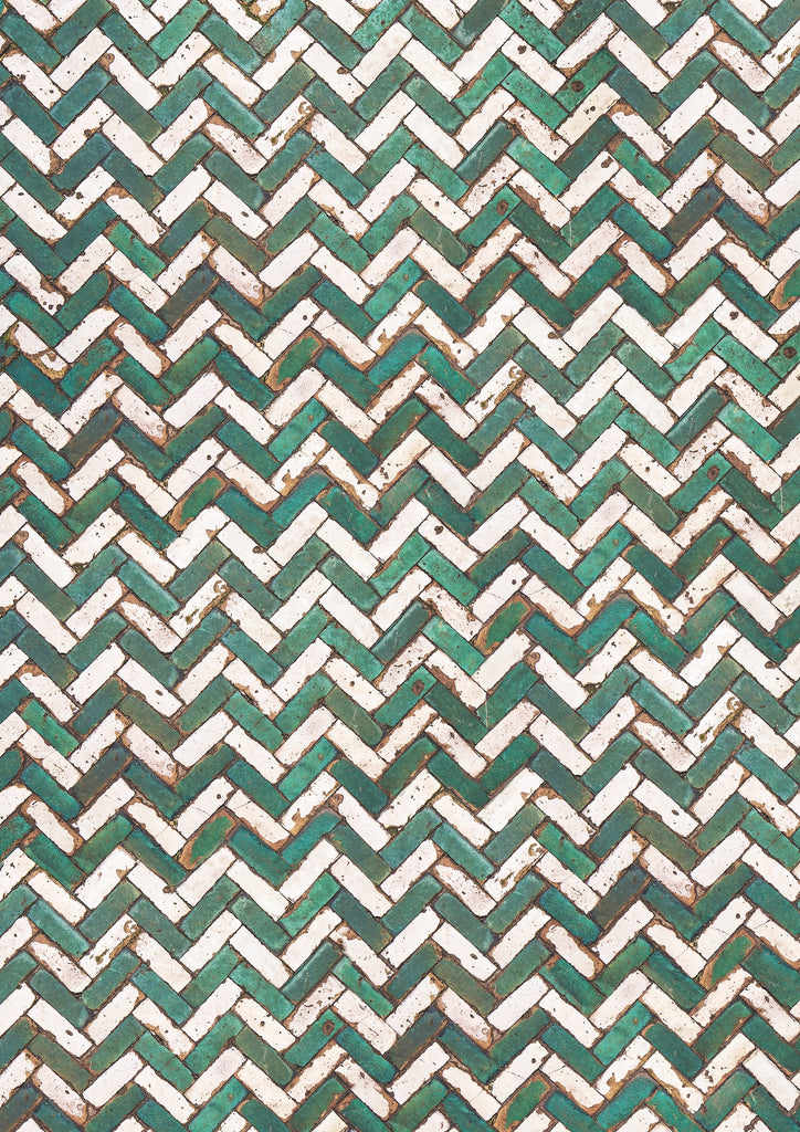 food photography backdrop styling background Moroccan handcrafted tiles green white chevron pattern