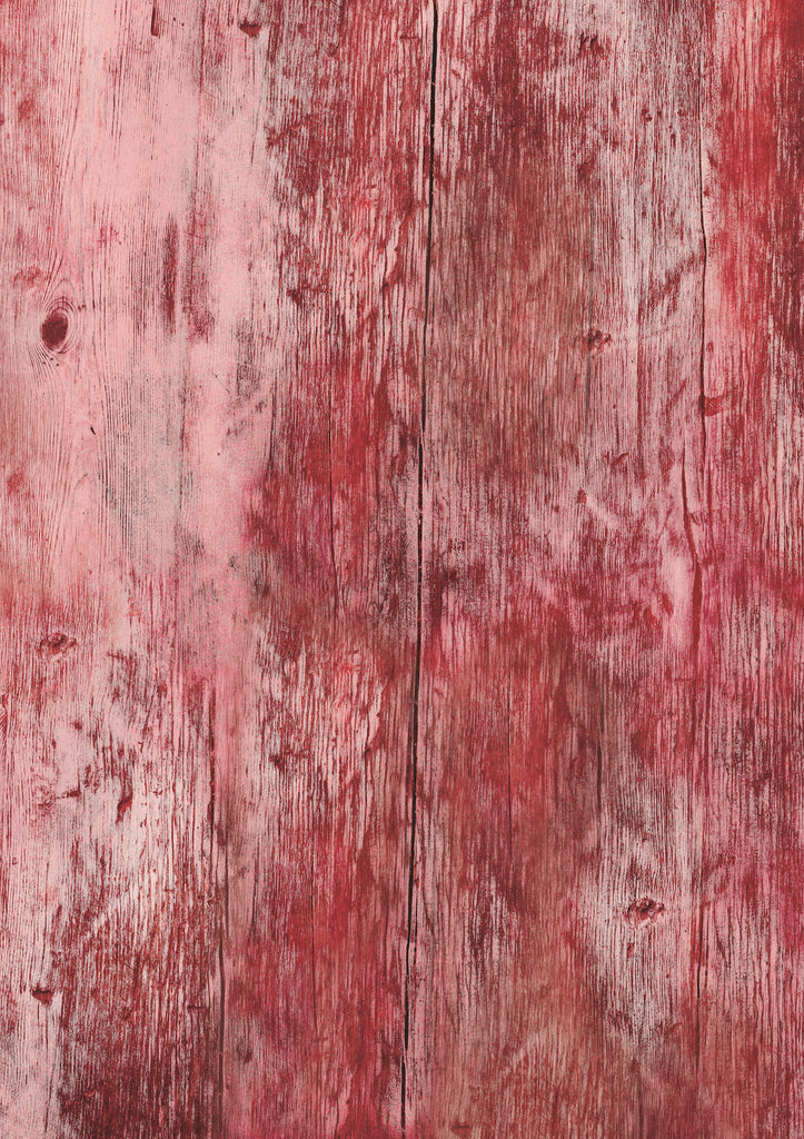 160. 'Cabin' distressed red wood printed photography background, A1 size paper sheet