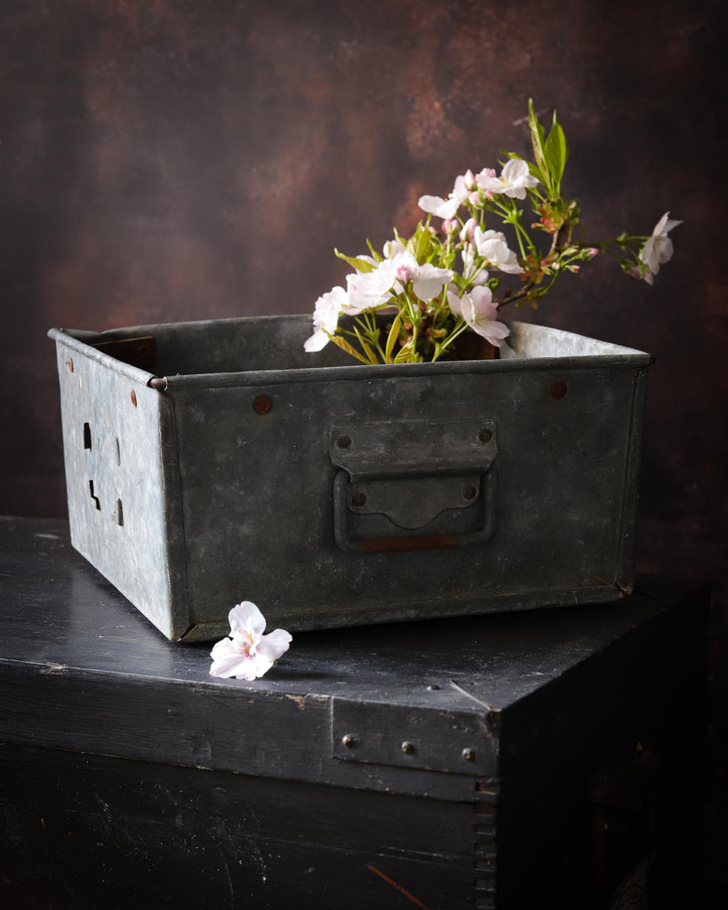 A1.  Antique zinc box crate