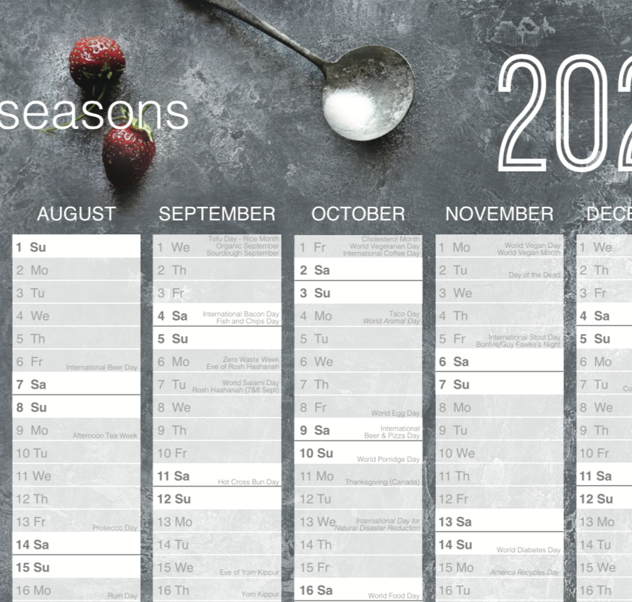 2021 Wall Planner with UK Calendar Dates, Food Events & Seasons