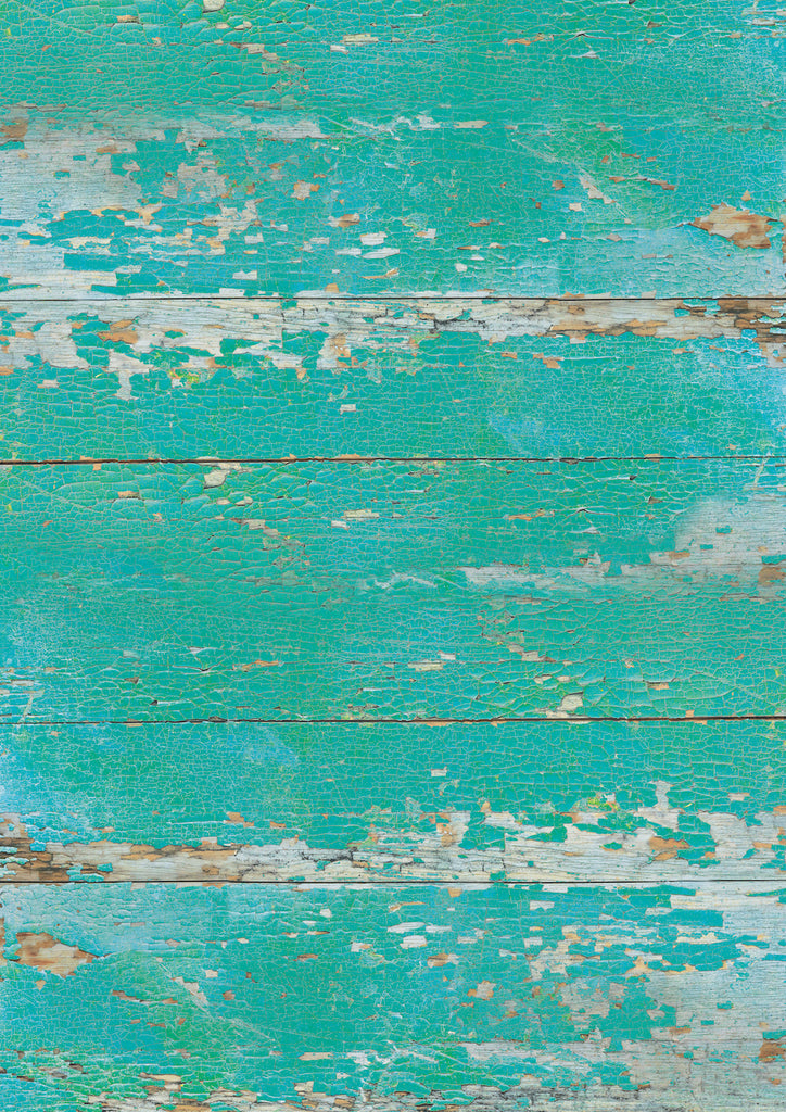1017. Large 'Porthmeor' turquoise flaky wood effect printed photography background, A0 size paper sheet