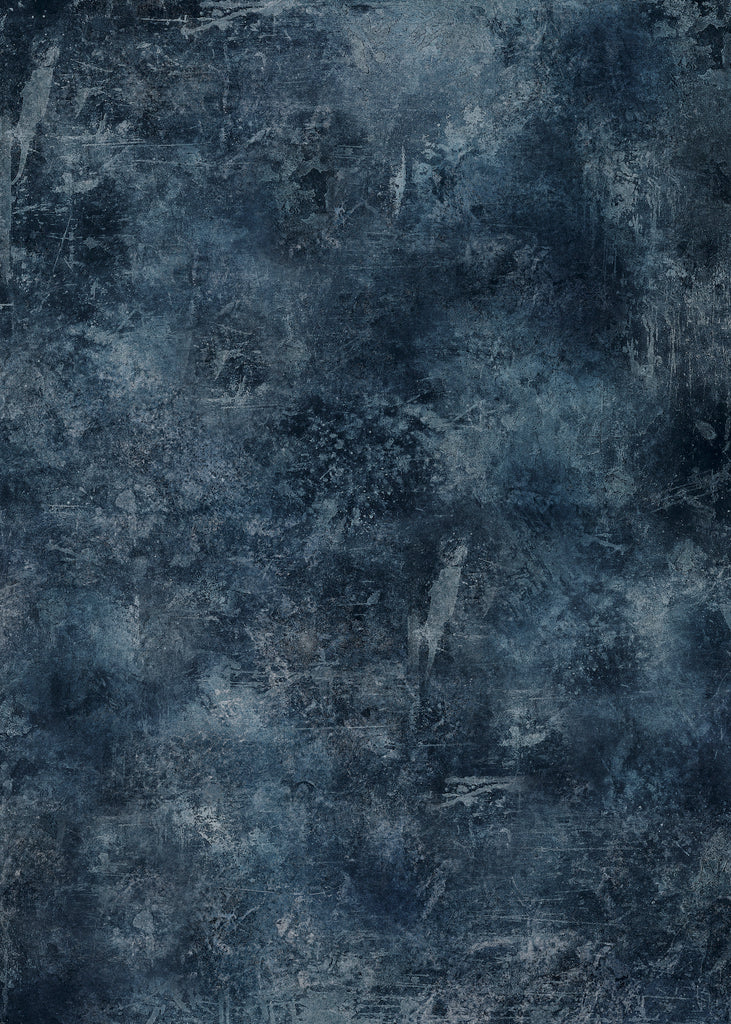 126. 'Delia' dark blue/grey hand painted effect printed photography background, A1 size paper sheet