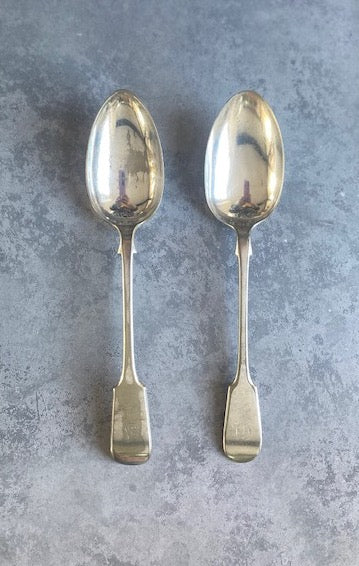 D4. Two large vintage silver plated serving spoons