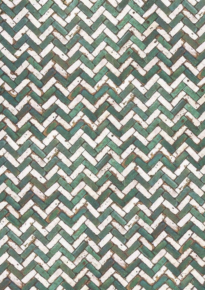 513. 'Fez' green and white chevron tile, A1 vinyl photography background