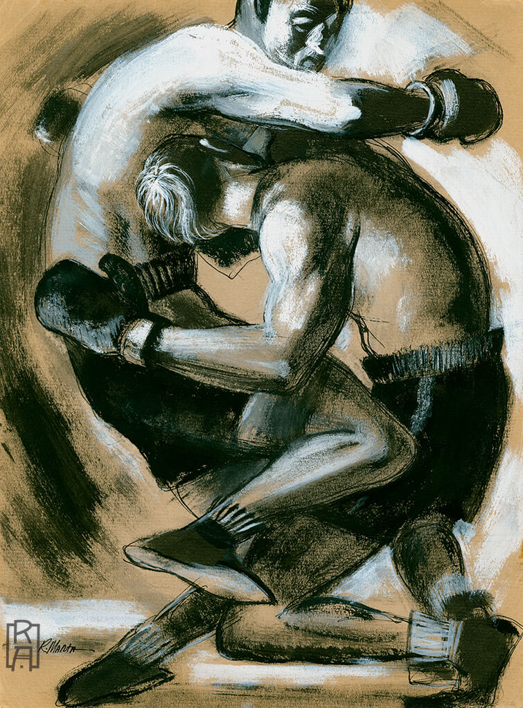 """The Boxers"" vintage illustration by Ray Marta"