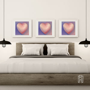 Dear Heart from the Heartworks Collection hanging in a contemporary bedroom.