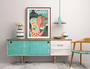 Gourmet Guys illustration by Ray Marta in an apartment.