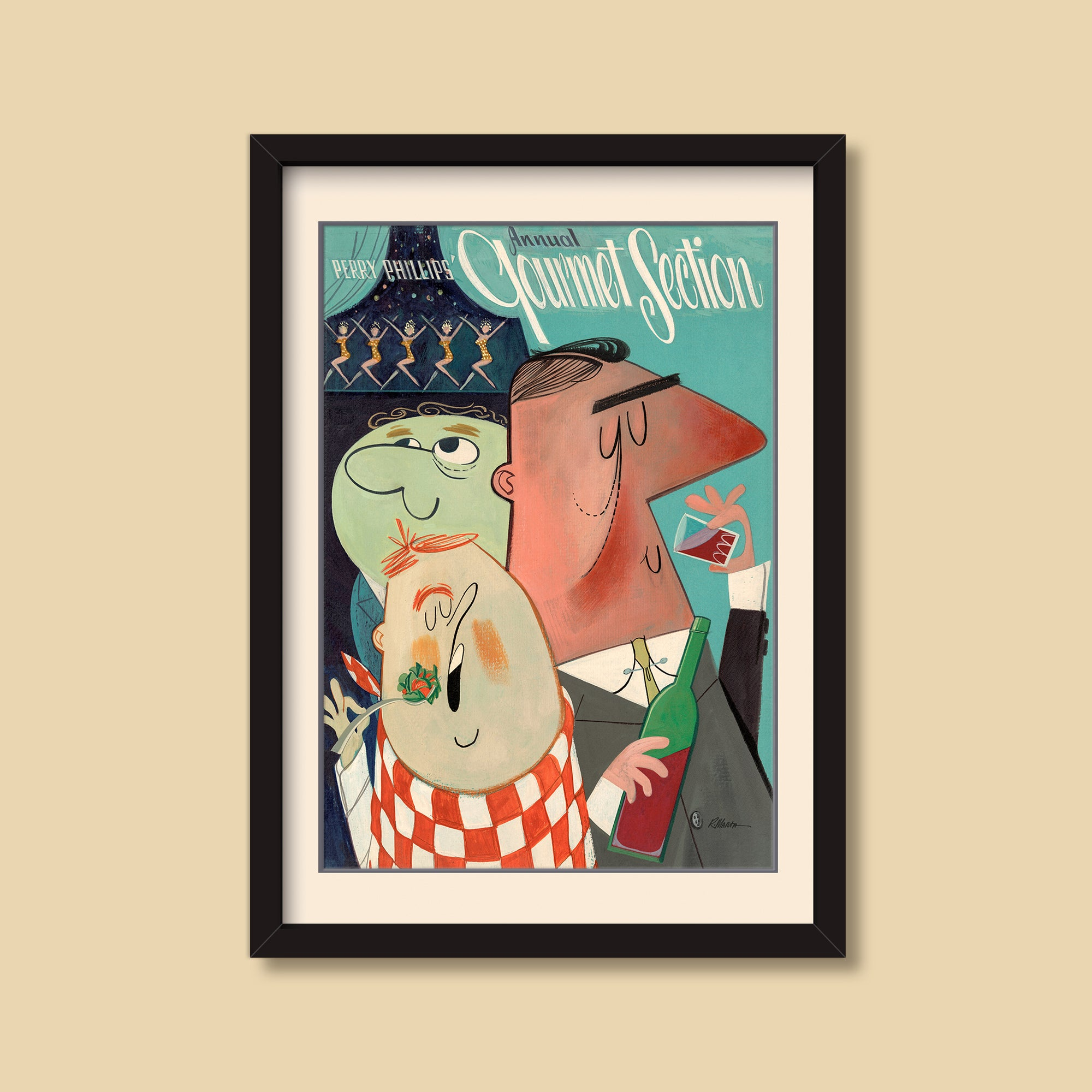 Gourmet Guys — vintage illustration by Ray Marta