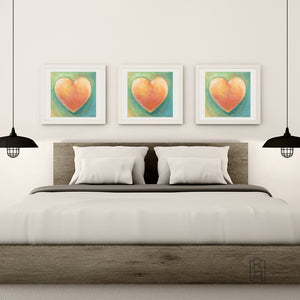 Warmhearted from the Heartworks Collection hanging in a contemporary bedroom.