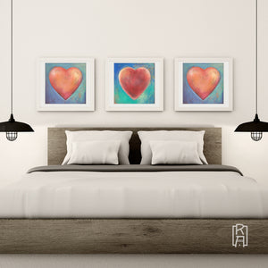 Heartworks by Michelle Marta-Drake hanging in a contemporary bedroom.