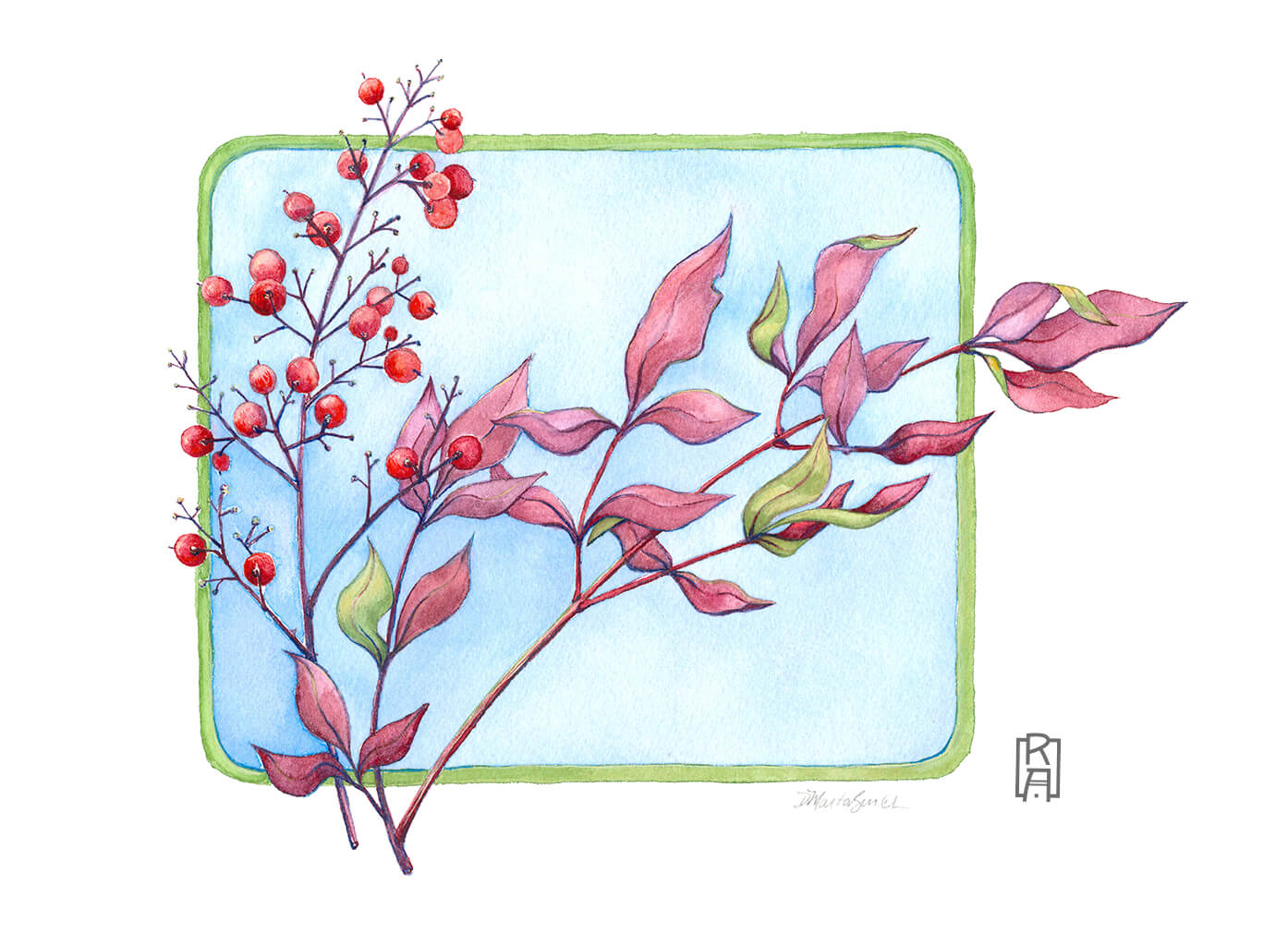 Heavenly Bamboo | Mixed Media Painting by Denise Marta-Burch