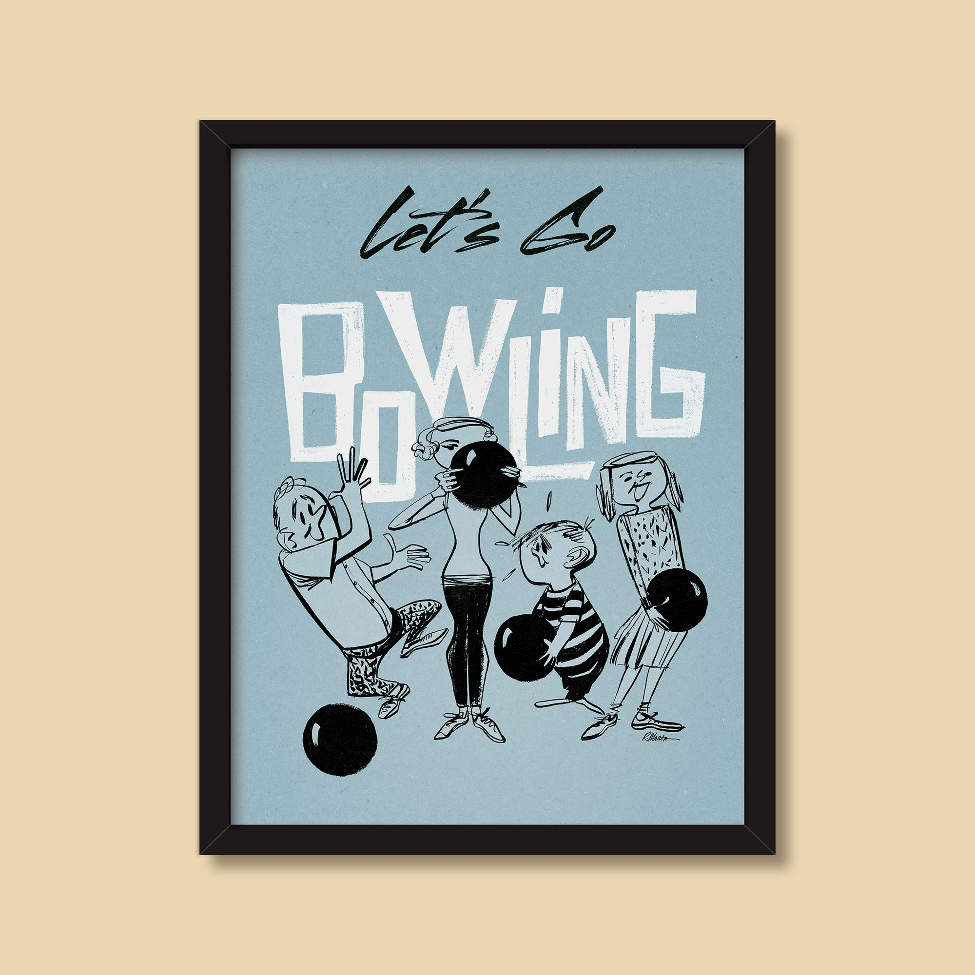 Let's Go Bowling — vintage illustration by Ray Marta