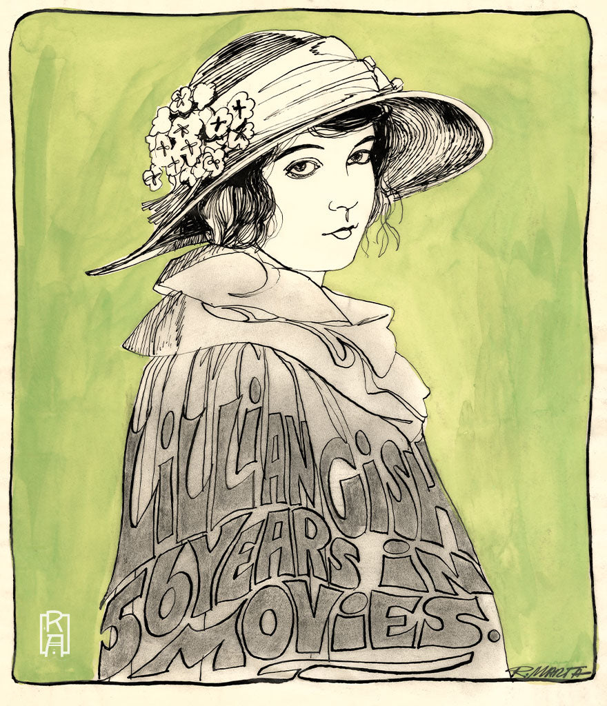 """Lillian Gish"" vintage illustration by Ray Marta"