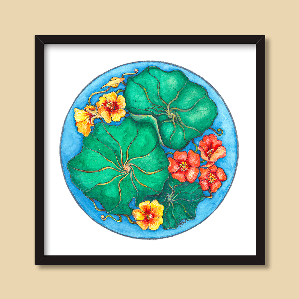 Nasturtiums | Mixed Media Painting by Denise Marta-Burch