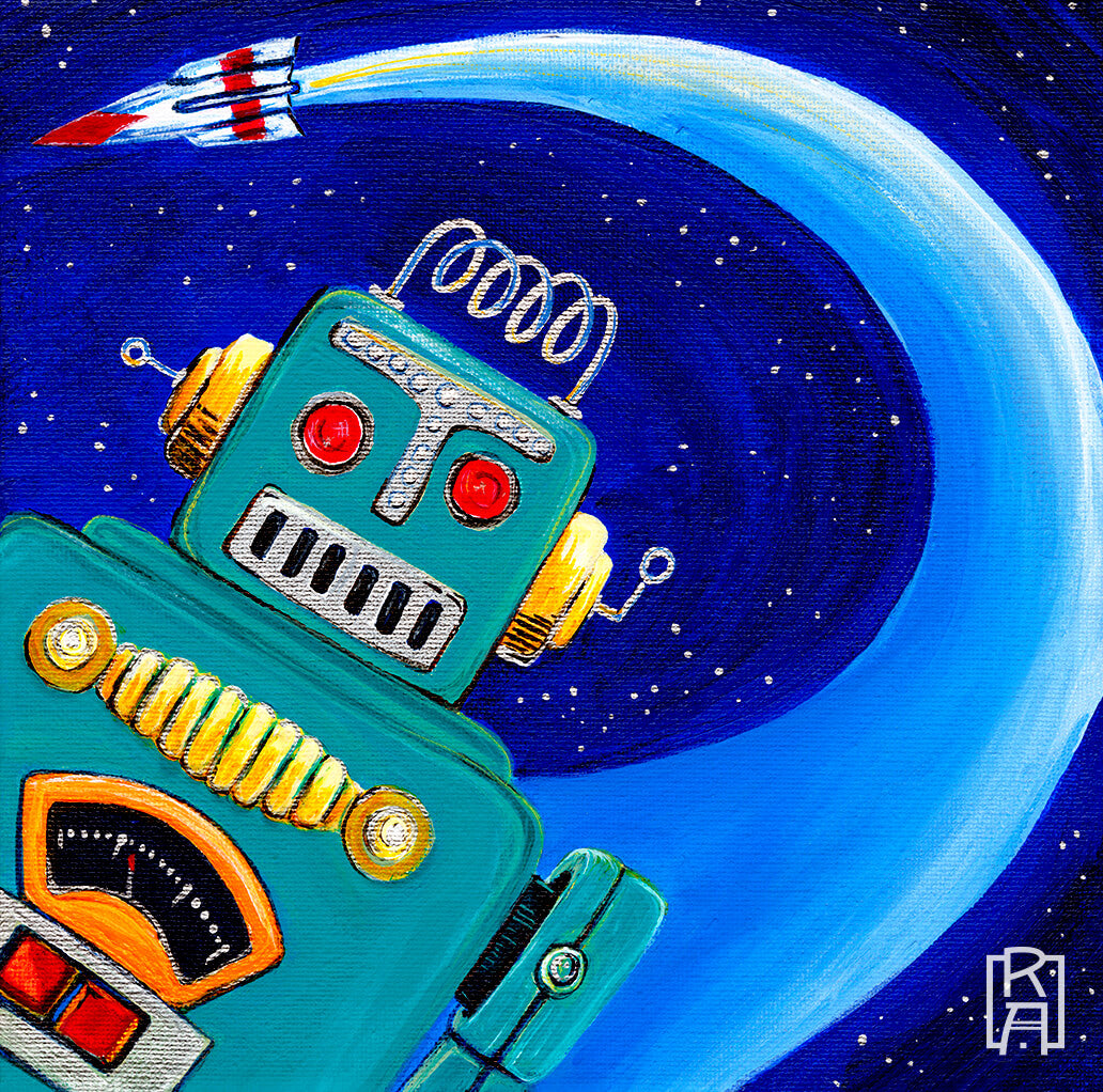 Robo-Dude | mixed media illustration by Denise Marta-Burch