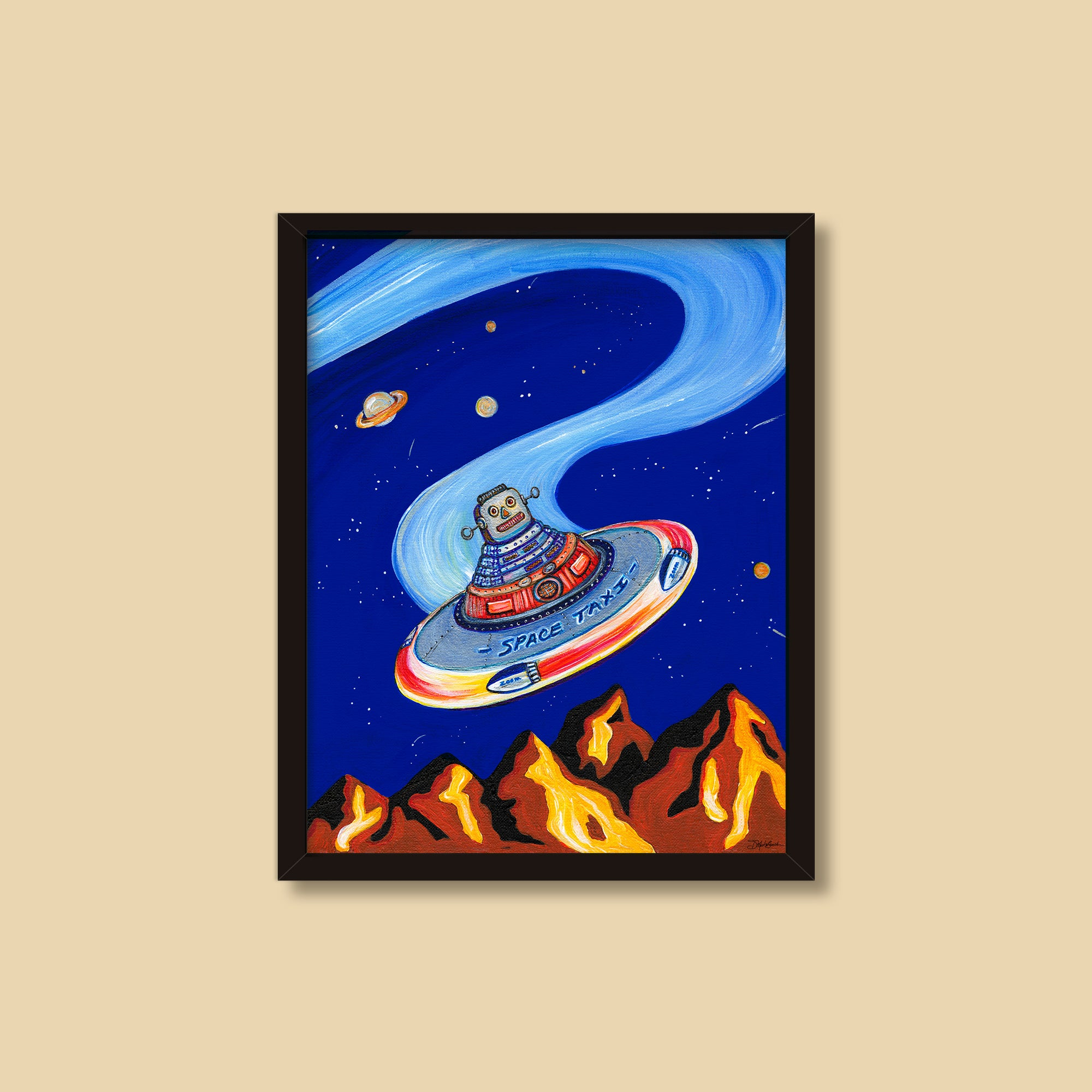 Space Taxi | Mixed Media Painting by Denise Marta-Burch