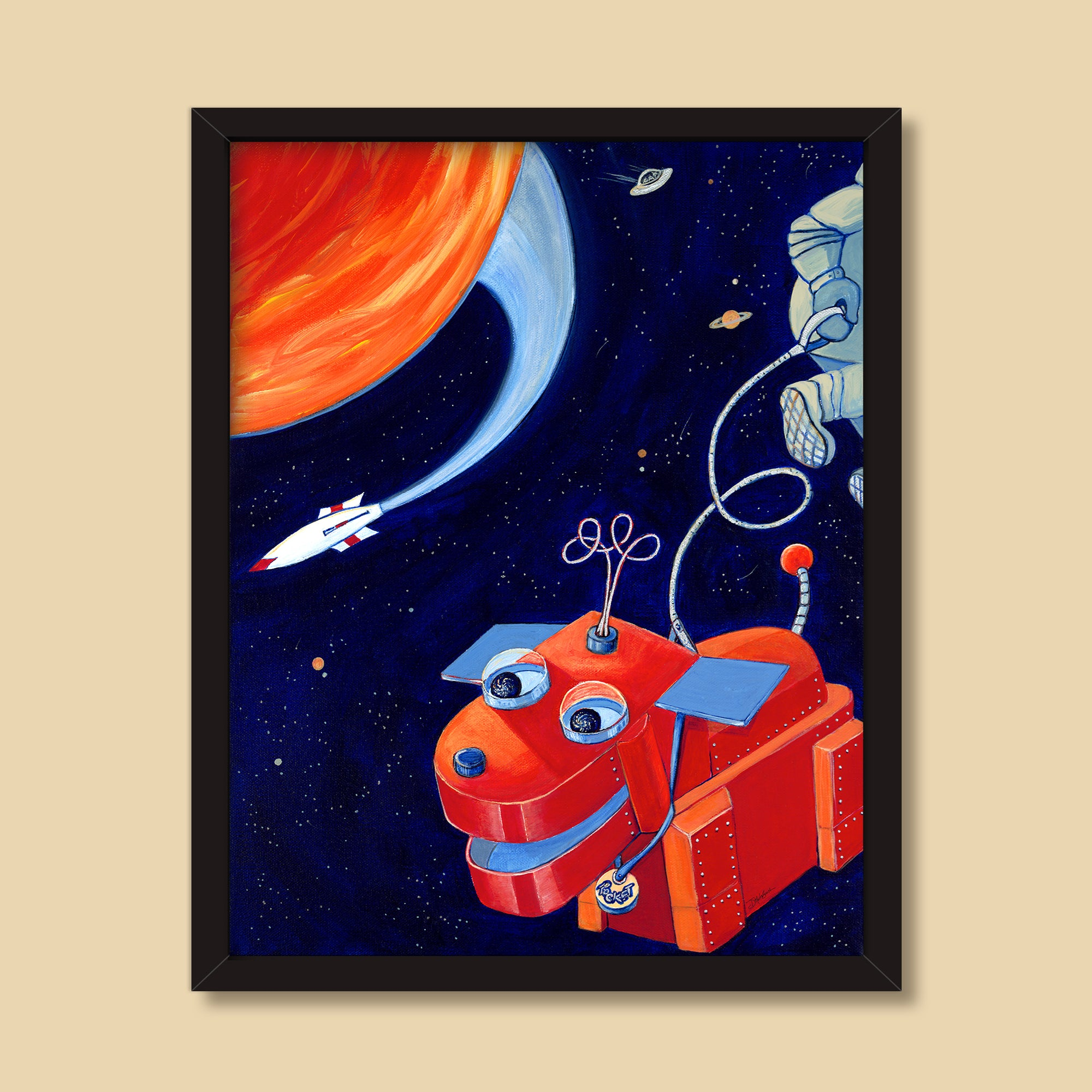 Space Walk | Mixed Media Illustration by Denise Marta-Burch