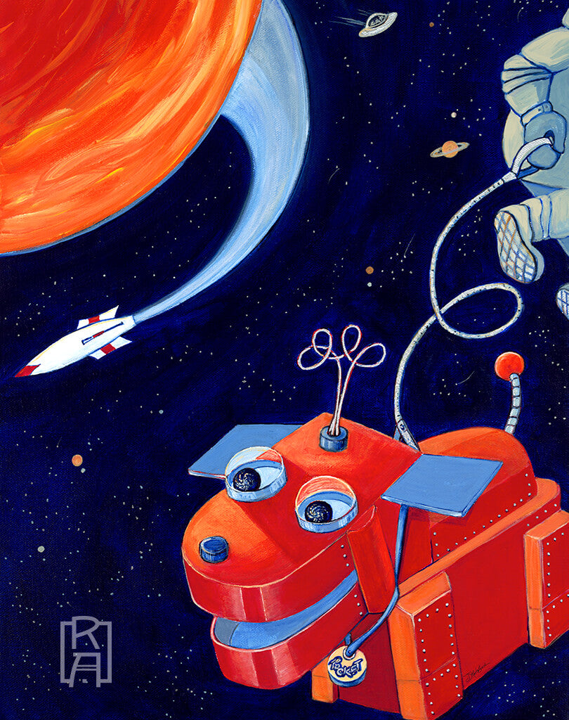 Space Walk | mixed media painting by Denise Marta-Burch